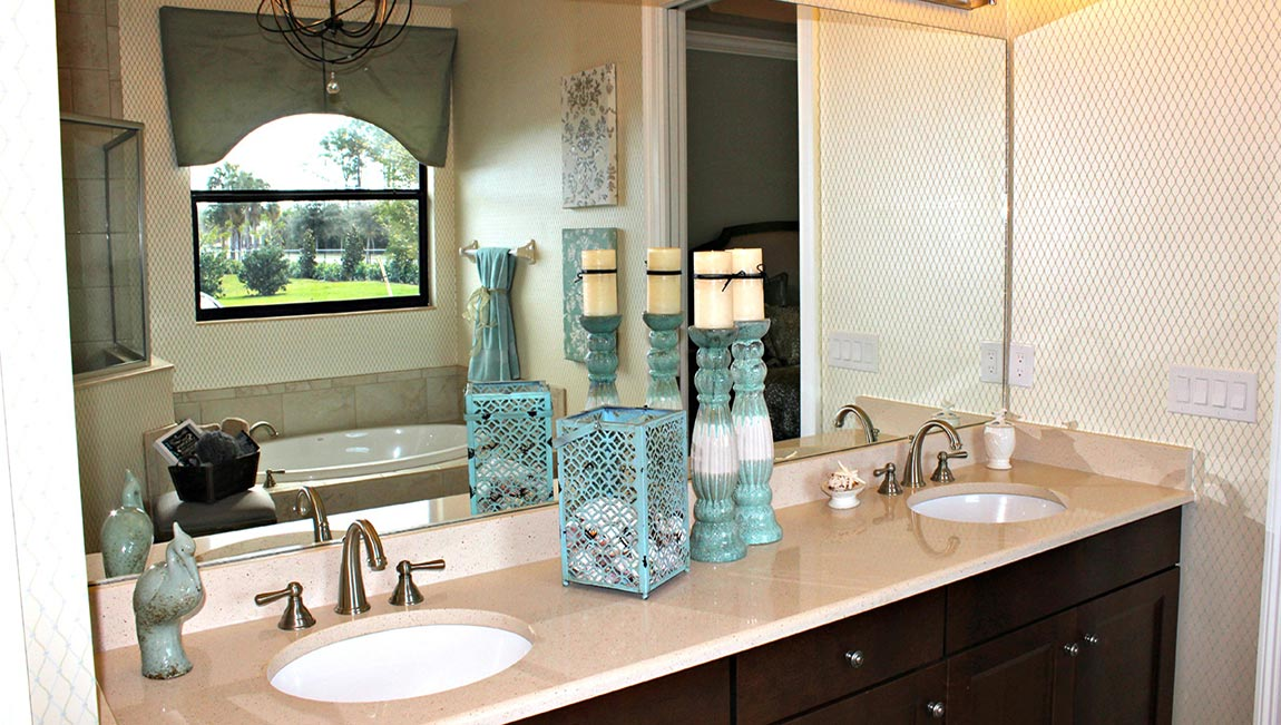 Models and quick move in homes open for viewing at tuscany for Model home bathroom photos