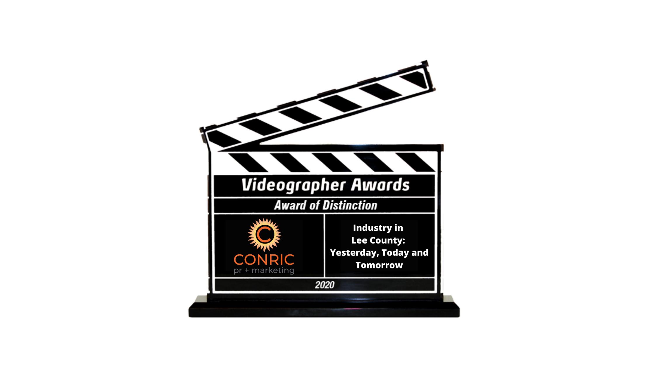 CONRIC pr + marketing earns international Videographer Awards Award of Distinction