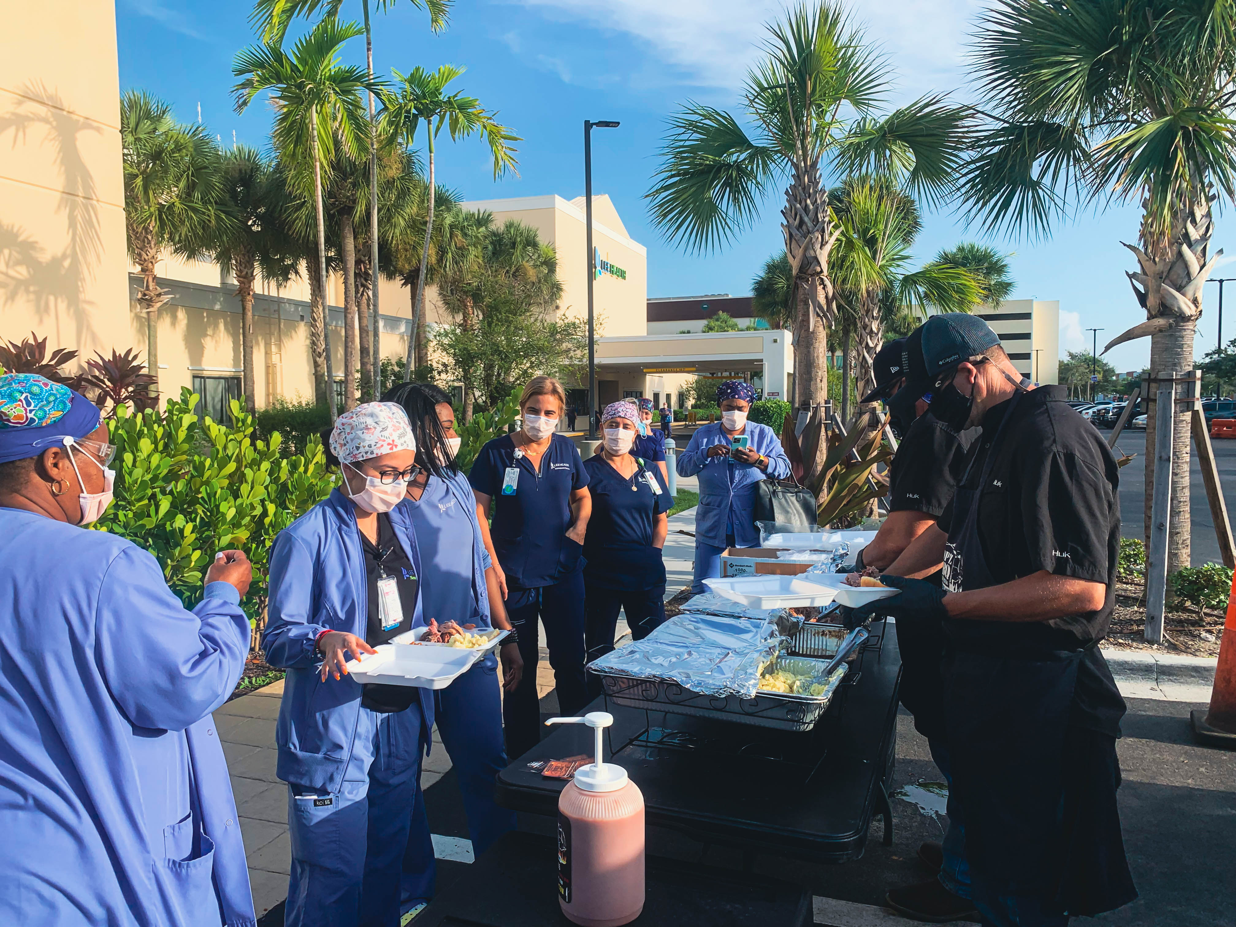 Associates and Bruce L. Scheiner helps feed busy healthcare workers at Gulf Coast Medical Center